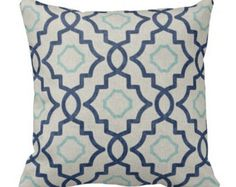 Two Cobalt Pillows  Blue Pillow Covers  Blue Quatrefoil