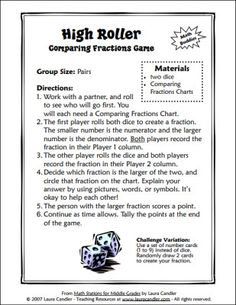 Free High Roller Math Game for comparing fractions - Download freebie from the sidebar on this page