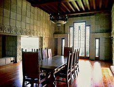 Frank Lloyd Wright's Ennis House in Los Angeles...primarily constructed with pre-cast, interlocking concrete blocks.