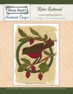 Robin Redbreast Wool Applique Pattern Download by Diane Knott LLC by DianeKnottLLC on Etsy