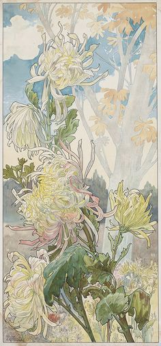 HENRI PRIVAT-LIVEMONT Quatre Planches Fleurs Décoratives: Chrysanthèmes, Iris, Pivoines et Tulipes.  Set of 4 color lithographs on smooth, cream wove paper, circa 1900