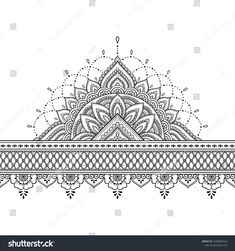 Seamless borders with mandala for design, application of henna, Mehndi and tattoo. Decorative pattern in ethnic oriental, Indian style. Dot Art Painting, Mandala Painting, Mandala Drawing, Mandala Art, Mandala Design, Tattoo Mandala Feminina, Hand Henna, Henna Mehndi, Henna Hands