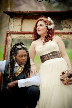 Steampunk wedding ftw!  I wouldn't do this...but come on she looks so gorgous! That isn't over doing it lol