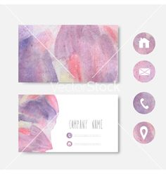 Watercolor business card vector by Chantall on VectorStock®
