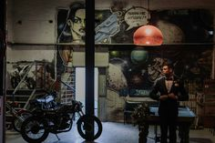 Modern Industrial Wedding Inspiration In A Motorcycle Workshop - Polka Dot Bride