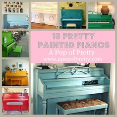 A round-up of 10 pretty painted pianos, from lime green to fire engine red to robins egg blue at A Pop of Pretty, apopofpretty.com.
