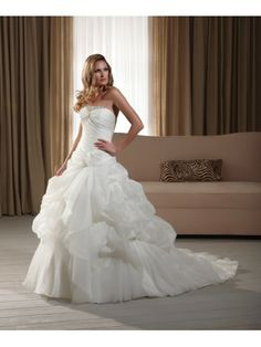 Organza Strapless Beaded Neckline Corset Lace Up Bodice Wedding Dress