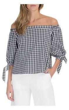 Blusa ombro a ombro vichy Isabella Fiorentino Blusas De Seda 6c50b876a8d6d