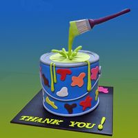 Paint Pot Cake - chocolate mud cake with fondant decorations by Sweet Fascinations