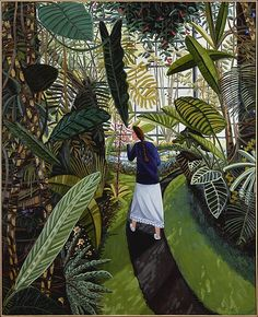 David Bates - 'The Conservatory' - 1985 - Oil on canvas. I was mesmerized when I first saw this -- this is a very large painting and looking up at it made me want to be in it. Art And Illustration, Illustrations, Poster Xxl, Modern Art, Contemporary Art, Tableaux Vivants, Naive Art, Metropolitan Museum, American Artists