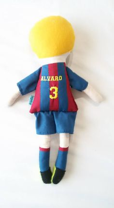 Fabric boy doll. Embroidered name. Soccer player doll. From happily.
