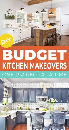 We found some great DIY budget kitchen makeovers with projects to help you makeover each major component of your kitchen space, while creating a custom high end look. #kitchen #kitchenideas #kitchenmakeovers #kitchenprojects #diykitchenideas #diykitchenprojects #budgetkitchendecor #diyhomedecor Diy Kitchen Projects, Kitchen Upgrades, Kitchen Makeovers, Kitchen Decor, Diy Projects, Kitchen Ideas, Kitchen On A Budget, Diy On A Budget, Decorating On A Budget