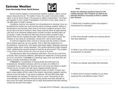 Week 33 Reading Comprehension (E-33). A passage and questions about how severe storms happen in low-pressure weather systems. Cross-Curricular Focus: Earth Science.