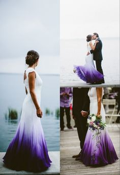 Ombre Wedding Dress, Stunning Wedding Dresses, Colored Wedding Dresses, Purple Wedding, Wedding Colors, Beautiful Dresses, Dream Wedding, Dipped Wedding Dress, Peacock Wedding