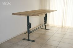 Tacketable, industrial adjustable table / bar. by www.neokdesign.nl