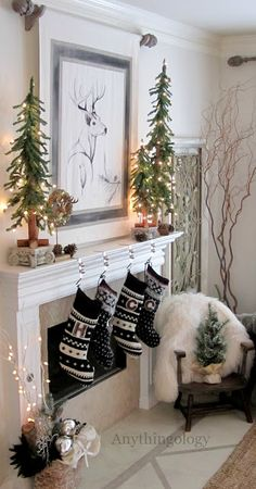 Christmas decor. Love the cute trees on the mantle. black n white, christmas decorations, christma decor, christma idea, white christmas, christmas stockings, rustic christmas, christmas ideas, christmas mantles