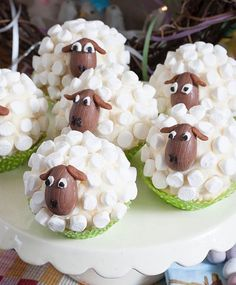 Little Sheep Cup Cakes - Marshmallows, c. - Little Sheep Cup Cakes – Marshmallows, chocolate solid eggs – YUM The Effective Pictures We Off - Easter Cupcakes, Sheep Cupcakes, Sheep Cake, Lamb Cupcakes, Mocha Cupcakes, Gourmet Cupcakes, Easter Treats, Easter Recipes, Easter Baking Ideas