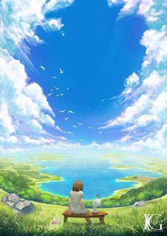 Big Blue Sky by Kevin-Glint on DeviantArt Fantasy Landscape, Landscape Art, Fantasy Art, Anime Scenery Wallpaper, Wallpaper Backgrounds, Blue Sky Wallpaper, Ciel Art, Art Environnemental, Sky Anime
