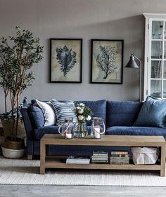 White Walls Blue Sofa Living Room Novocom Top