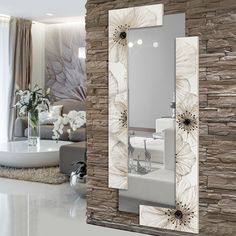 Awesome ideas for decorating the hallway with modern wall mirror designs, home interior wall mirror decor ideas for modern style apartments 2019 Interior Walls, Home Interior Design, Stone Interior, Living Room Designs, Living Room Decor, Spiegel Design, Ceiling Design, Entryway Decor, Wall Decor