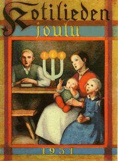 Vintage Christmas Magazine, Kotiliesi Cover by Martta Wendelin