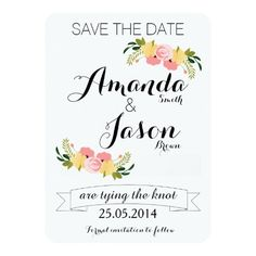 Rustic Floral Wedding Save The Date Personalised Invitation