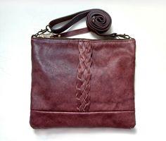 O X B L O O D Leather Shoulder Bag.  Wine Cross Body Purse. Bordeaux Bag.  Burgundy Leather.