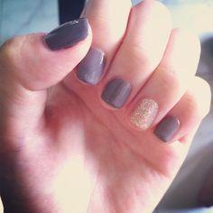 brown grey x gold glitter gel nails