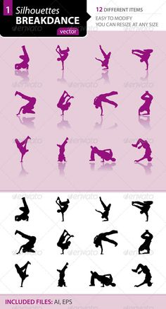Breakdance silhouettes