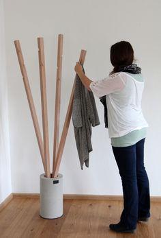 Concrete DIY clothes rack #concrete #cement #wood #beton  #diyproject  #diycrafts