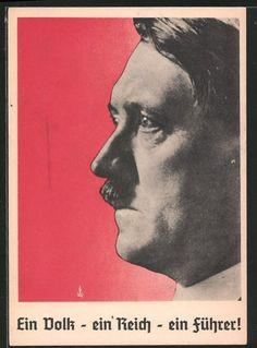 old postcard: AK Ein Volk-Ein Reich-Ein Führer! Portrait Führer Adolf Hitler