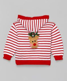 This Red Stripe Reindeer Hooded Cardigan - Infant & Toddler is perfect! #zulilyfinds