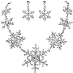 Amazon.com: EVER FAITH Silver-Tone Christmas Gifts Snowflake Clear... ($28) ❤ liked on Polyvore featuring jewelry, bride jewelry set, snowflake jewelry sets, austrian crystal jewelry, set jewelry and clear jewelry