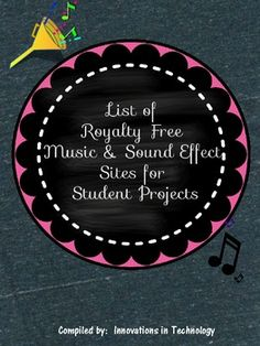 This is a list of links to Internet sites that offer royalty free, non-copyrighted music and sound effects FREE that can be used in the classroom.  All links worked and were free at the time this was created, but sites change their policies from time to time, so please be sure to check the Terms of Use on each site prior to using it.