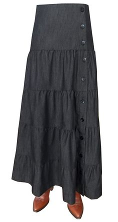 BabyO Women's Long Ankle Length Tiered Denim Prairie Skirt * This is an Amazon Affiliate link. Continue to the product at the image link.