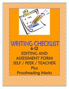 Editing Checklist For SelfPeerTeacher Evaluation Of Expository