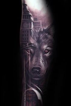 City Skyline With Wolf Mens Realistic Forearm Tattoo Design Ideas Wolf Tattoo Design, Forearm Tattoo Design, City Tattoo, 1 Tattoo, Wolf Pictures, Best Tattoo Designs, Wolf Tattoos, Face And Body, Sleeve Tattoos