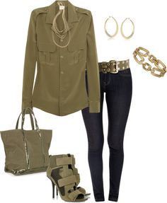 """""""Military Green"""" by ding1 on Polyvore"""