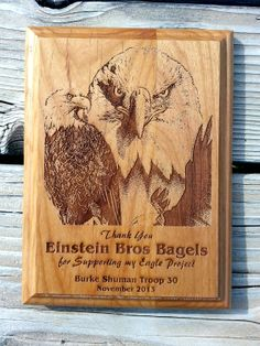 A laser engraved Eagle project donor thank you plaque from Scorpion Ridge.