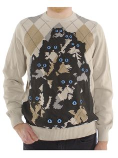 The Official Watson and Sherlock Crazy Cat Jumper in Beige