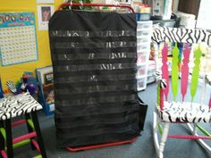 I have been searching the internet for a black pocket chart and couldn& find anything! Several people suggested spray paintin. Classroom Walls, Classroom Themes, Classroom Organization, Classroom Management, Future Classroom, Disney Classroom, Classroom Projects, Classroom Design, Kindergarten Anchor Charts