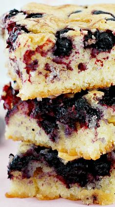 Blueberry Blondies Recipe ~ Berrylicious blondies with white chocolate chips.