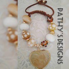 Murano bracelet adjustable brown beige beads and por PathysDesign