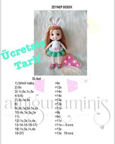 Free Amigurumi Crochet Doll Pattern and Design ideas - Page 8 of 37 - Daily Crochet! Doll Amigurumi Free Pattern, Crochet Dolls Free Patterns, Crochet Doll Pattern, Amigurumi Toys, Doll Patterns, Crochet Birds, Crochet Toys, Lilly Doll, Crochet Baby Jacket
