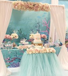 Under the Sea Mermaid Party - Birthday Party Ideas & Themes Under The Sea Decorations, Sweet 16 Decorations, Mermaid Party Decorations, Mermaid Parties, Birthday Party Decorations, Unicorn Themed Birthday Party, Birthday Candy, Mermaid Birthday, Birthday Parties
