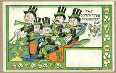"This postcard produced by the Arthur Livingston of New York (active1897-1907). It uses racist stereotypes, Punch Magazine often portrayed the Irish as monkeys or simianized. These cards lampoon the St Patrick's Day Parade and the figures have a distinct ""monkey"" features. The book ""Making the Irish American : history and heritage of the Irish in the US"" pg 373 talks specifically about Livingston penny postcards and puts them in the context of 19th century prejudice against the Irish."