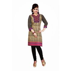 Dark Beige & Black Cotton Readymade Kurti #casualwear #festivalwear #cotton #kurti #collocation #Readymade #embroidered #unique #peerless #matchless #wonderful #HoliSpecial #Holi #Special #attractive #beautiful #awesome #gorgeous #glamorous #bollywood #hollywood #tellywood #telewood