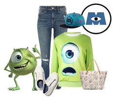 """Mike Wazowski"" by seafreak83 ❤ liked on Polyvore featuring Disney, River Island, INC International Concepts, denim, disney, disneybound, pixar and disneybounding"