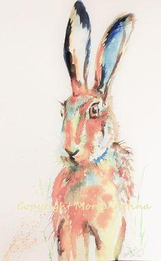 MORENA ARTINA Original contemporary PAINTING Hare 14 x 11 inches Hare Rabbit