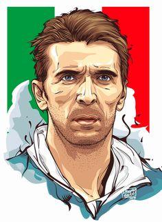 An Illustrated Celebration of Gigi Buffon - SoccerBible Epl Football, Football Icon, Football Art, Football Player Drawing, Football Players, Football Drawings, I Miss You Wallpaper, Roberto Baggio, Soccer Art